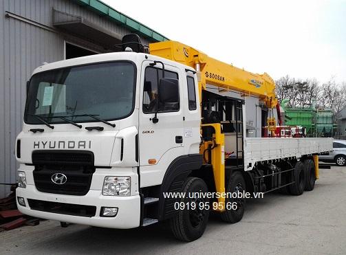 Cẩu soosan lắp trên nền xe tải và thông số kỹ thuật